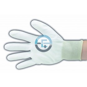 ESD Dissipative Nylon Light Gloves fingers and palm PU coated / white